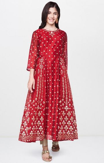 Global Desi | Maroon Printed Anarkali