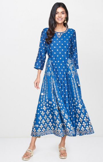 Global Desi | Blue Printed Anarkali
