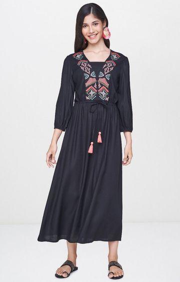 Global Desi | Black Printed Maxi Dress