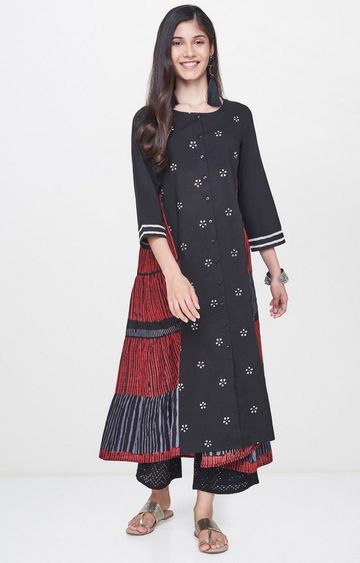 Global Desi | Black Printed Anarkali