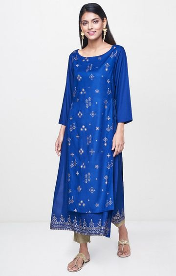 Global Desi | Ink Blue Printed Kurta
