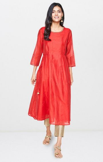 Global Desi | Red Solid Anarkali