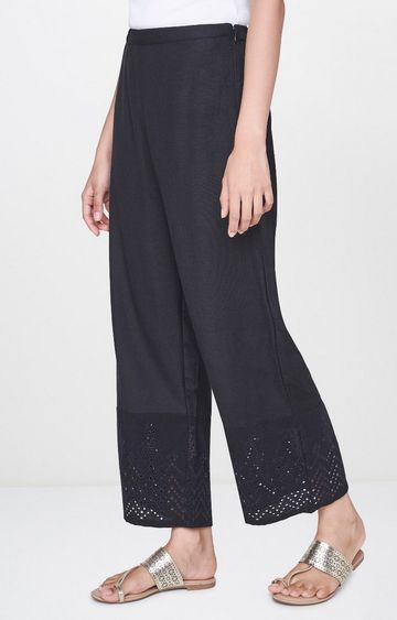 Global Desi | Black Solid Palazzos