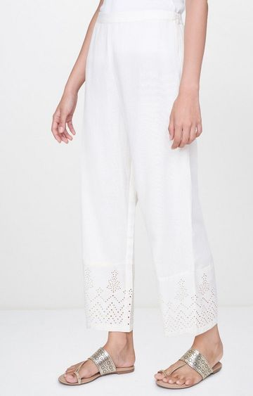 Global Desi | Off White Solid Palazzos