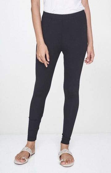 Global Desi | Black Solid Leggings