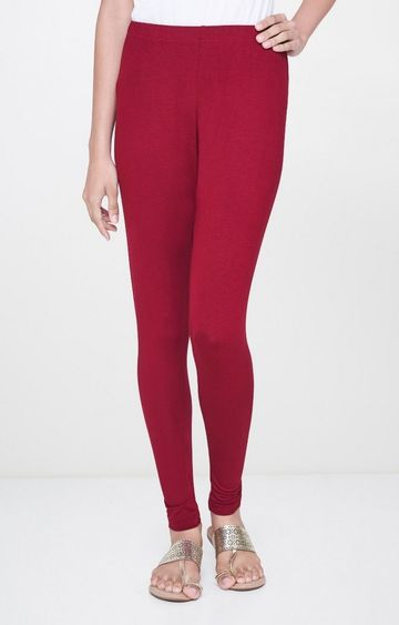 Global Desi | Maroon Solid Leggings