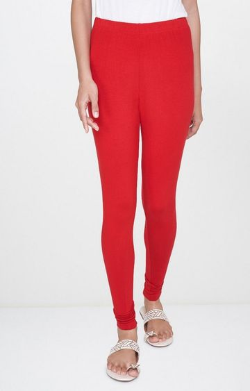 Global Desi | Red Solid Leggings