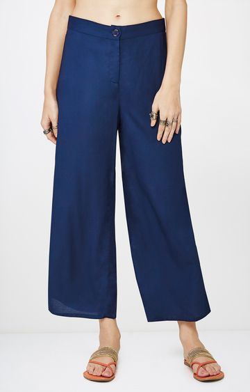 Global Desi | Blue Solid Palazzos