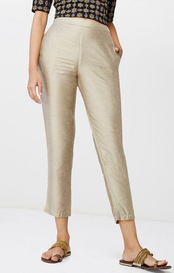 Global Desi | Beige Striped Cropped Trousers