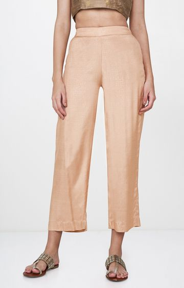 Global Desi | Beige Solid Flared Trousers