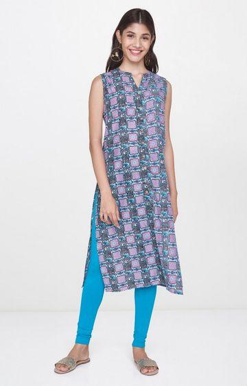 Global Desi | Grey Printed Kurta