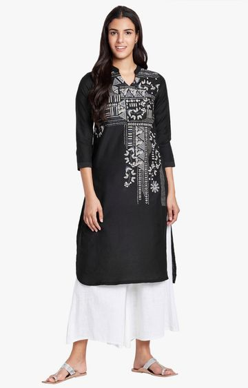 Global Desi | Black Printed Asymmetric Kurta