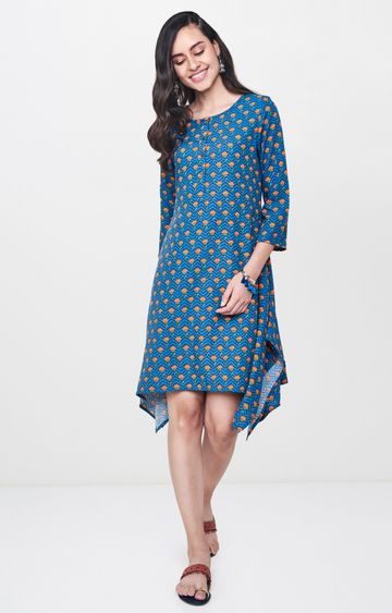 Global Desi | Blue Printed Asymmetric Kurti