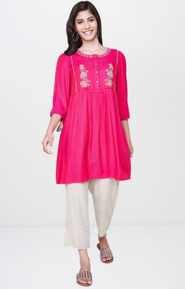 Global Desi | Hot Pink Printed Regular Kurti