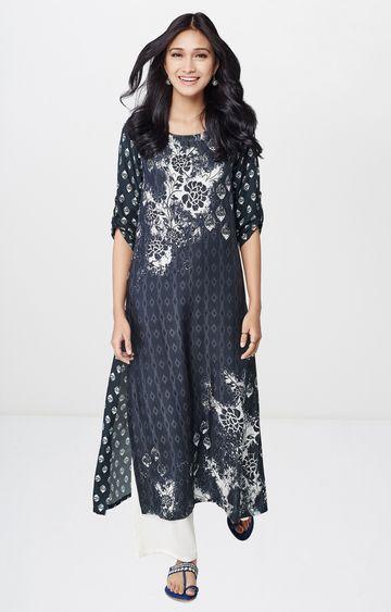 Global Desi | Charcoal Printed Regular Kurta