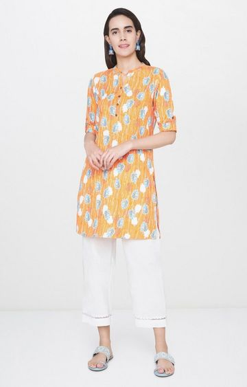 Global Desi | Mustard Printed Regular Kurti