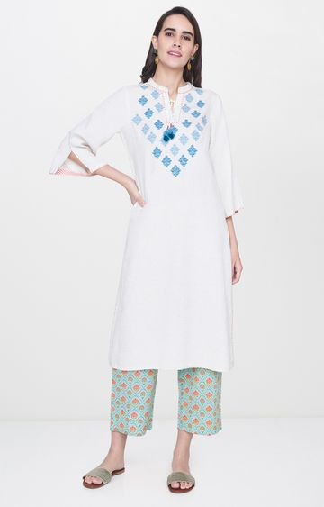 Global Desi | White Printed Regular Kurta