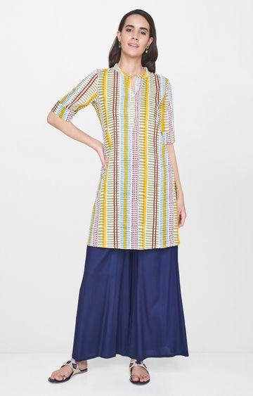 Global Desi | Multicoloured Striped Regular Kurta
