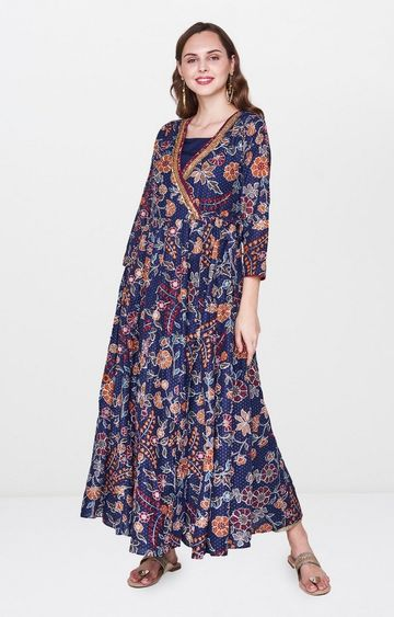 Global Desi | Indigo Printed Anarkali