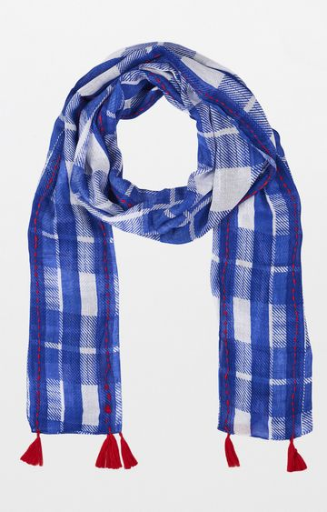 Global Desi | Blue Checked Scarf