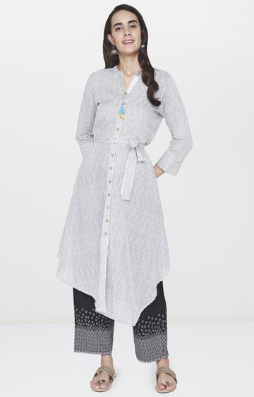 Global Desi | Off White Striped Asymmetric Kurta