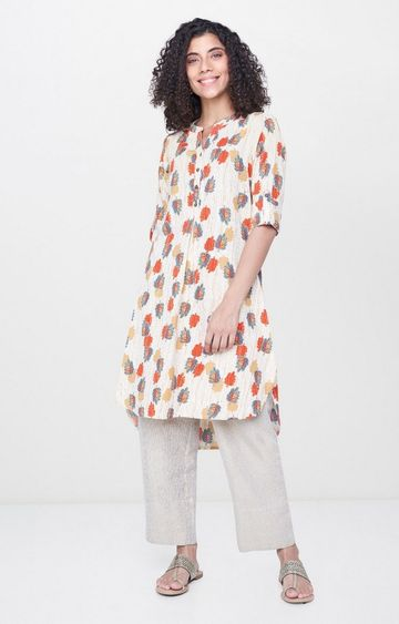 Global Desi | Off White Printed Asymmetric Kurta