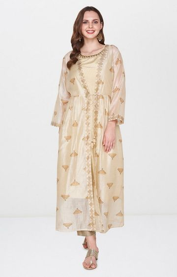 Global Desi | Beige Printed Kurta