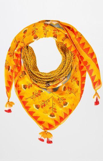 Global Desi | Yellow Printed Scarf