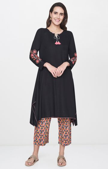 Global Desi | Black Printed Pants and Kurta