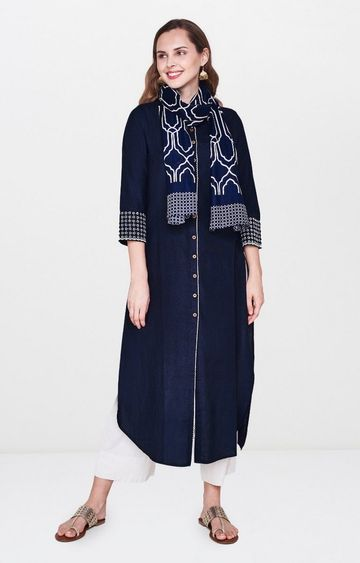 Global Desi | Navy Solid Kurta