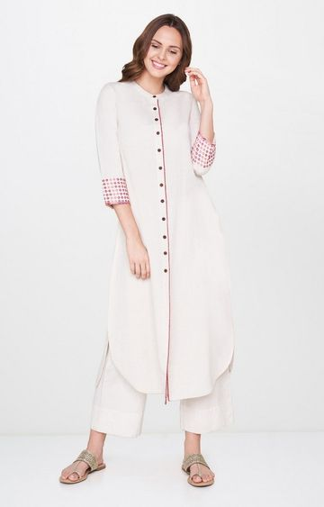 Global Desi | White Solid Kurta