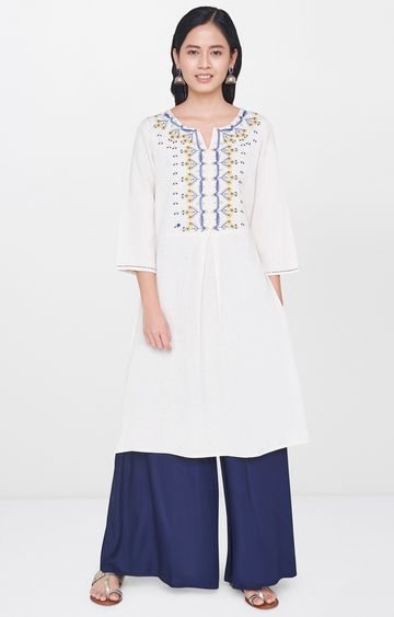 Global Desi | Natural Embroidered Kurta