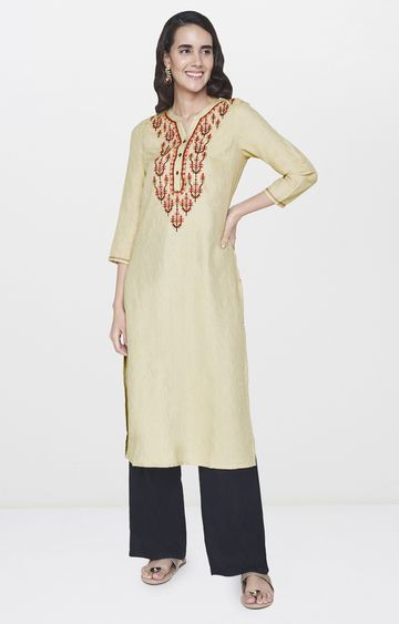 Global Desi | Beige Embroidered Kurta