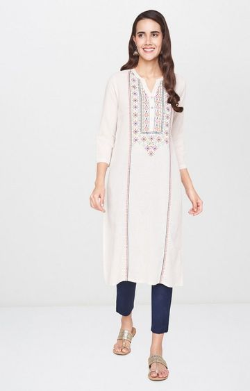 Global Desi | White Embroidered Kurta