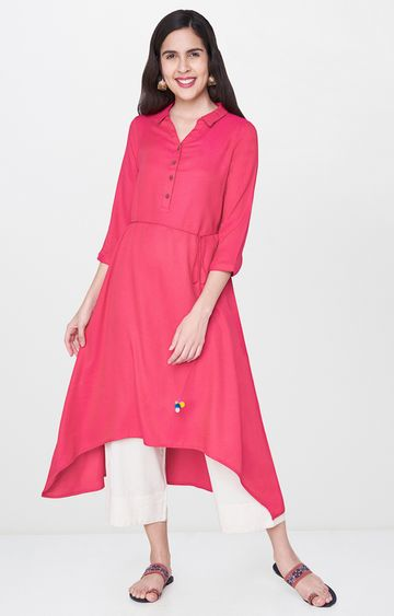 Global Desi | Hot Pink Solid Asymmetric Kurta