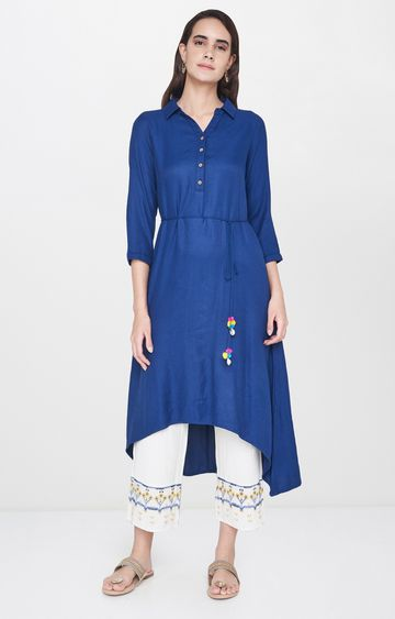 Global Desi | Indigo Solid Asymmetric Kurta