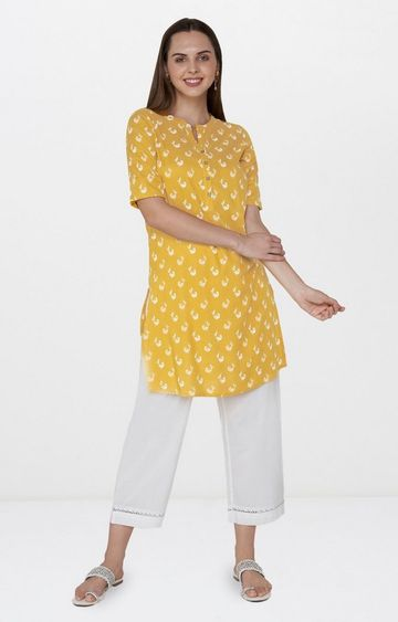 Global Desi | Yellow Printed Regular Kurti