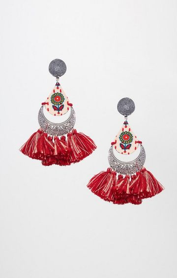 Global Desi | Maroon Dangle and Drop Earrings