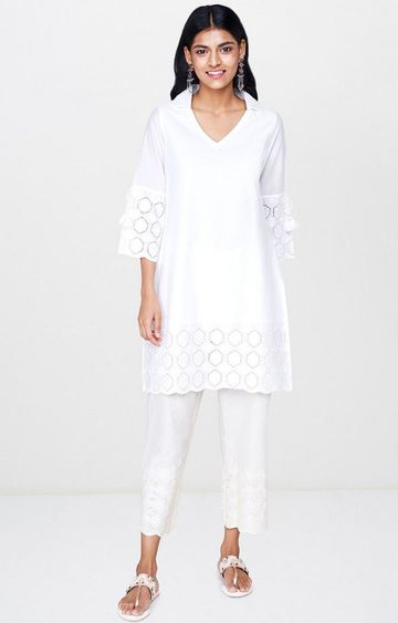 Global Desi | White Solid Regular Kurti