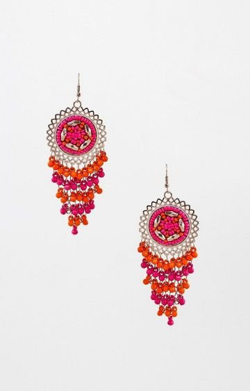 Global Desi | Pink and Orange Dangle and Drop Earrings