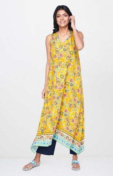 Global Desi | Mustard Printed Asymmetric Kurta