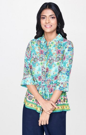 Global Desi | Aqua Printed Top