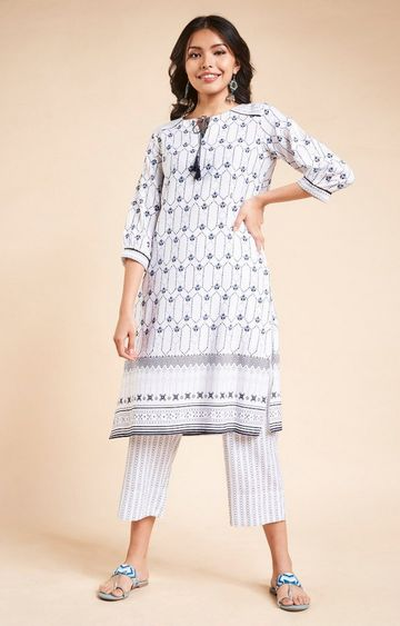 Global Desi | White Printed Kurta