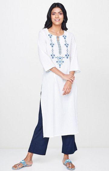 Global Desi | White Embroidered Kurta