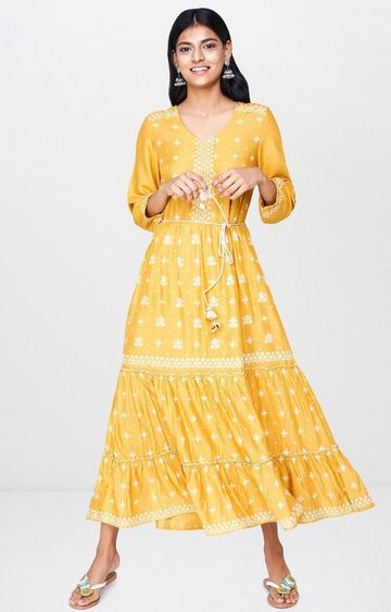 Global Desi | Mustard Embroidered Maxi Dress