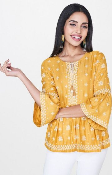 Global Desi | Mustard Embroidered Peplum Top