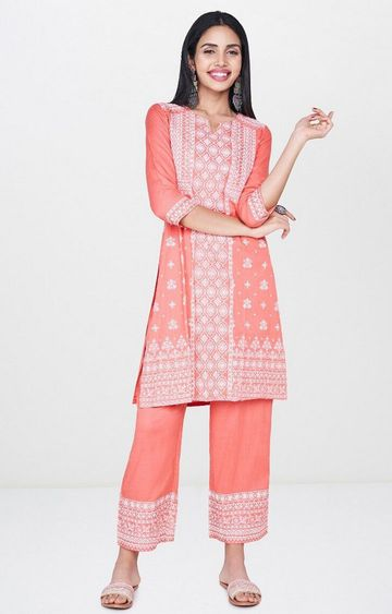 Global Desi | Peach Embroidered Kurta and Pants