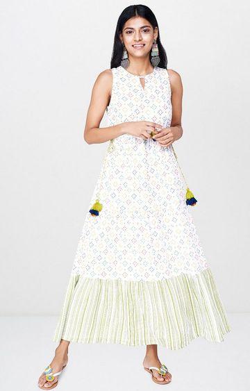 Global Desi | White Printed Maxi Dress