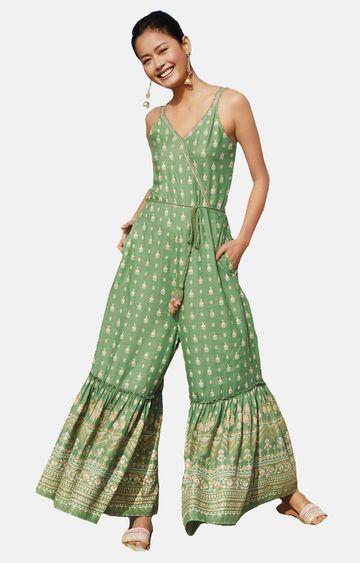 Global Desi   Sage Green Printed Jumpsuit