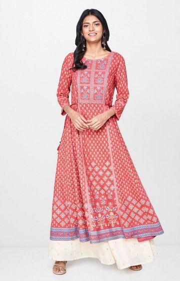 Global Desi | Rust Embroidered Anarkali